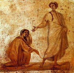 jesus-healingwomanwithissueofblood-fromcatacombsofrome-4thcentury-wikipedia-pd_art